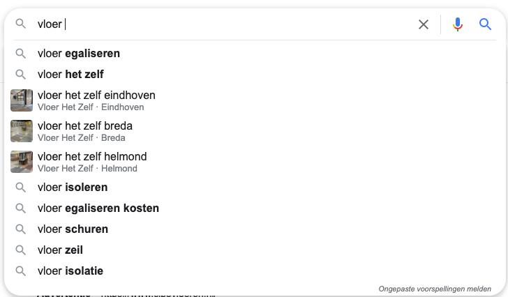 Automatische suggesties long tail zoekwoorden Google